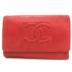 Chanel CC Logo Red Lambskin Leather 6 Key Case